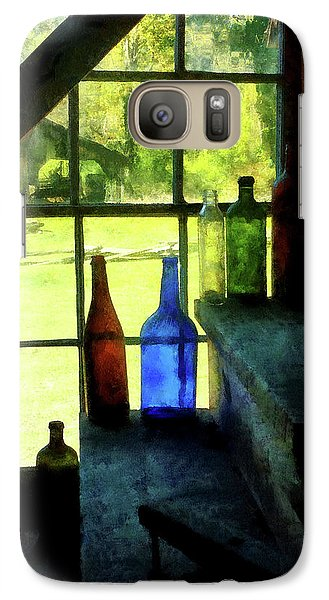 Galaxy Case featuring the photograph Colored Bottles On Steps by Susan Savad