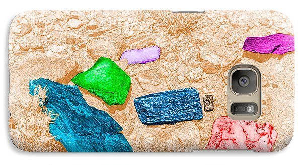 Galaxy Case featuring the digital art Colored Rocks 1 by Bartz Johnson