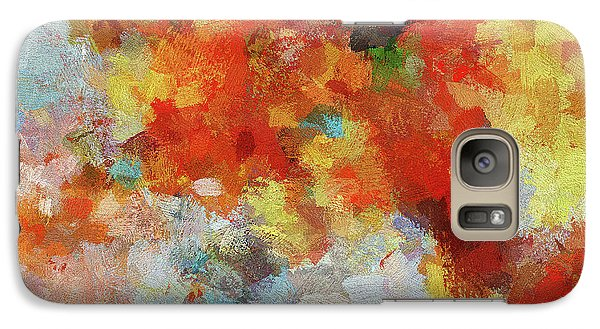 Galaxy Case featuring the painting Colorful Abstract Landscape Painting by Ayse Deniz