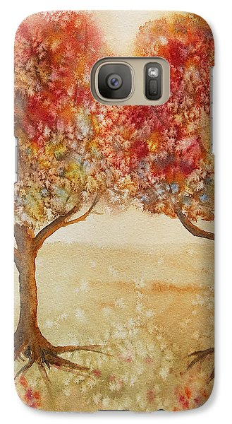 Galaxy Case featuring the painting Colorful Autumn Twin Trees by Kerri Ligatich