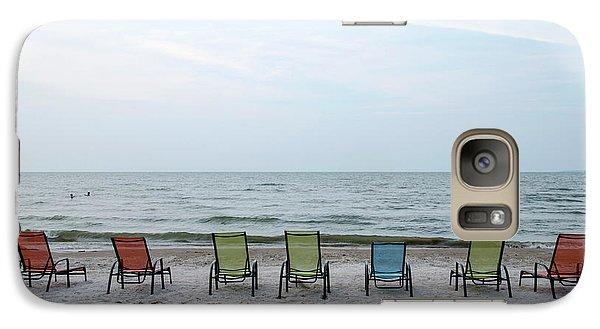 Galaxy Case featuring the photograph Colorful Beach Chairs by Ann Bridges