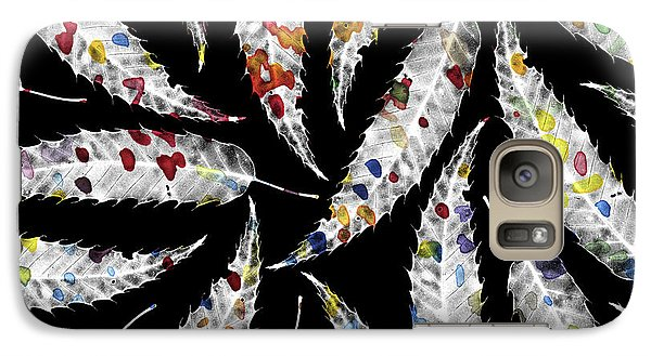 Colorful Black And White Leaves Galaxy S7 Case by Susanne Kasielke