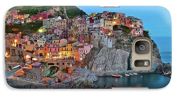 Galaxy Case featuring the photograph Colorful Buildings Colorful Lights by Frozen in Time Fine Art Photography