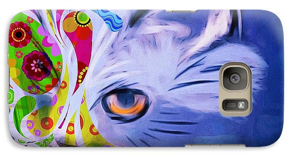 Galaxy Case featuring the mixed media Colorful Cat World by Gabriella Weninger - David