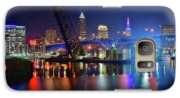 Galaxy Case featuring the photograph Colorful Cleveland Lights Shimmer Bright by Frozen in Time Fine Art Photography