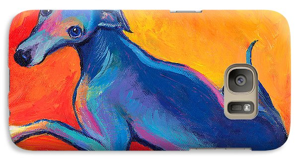 Colorful Greyhound Whippet Dog Painting Galaxy S7 Case by Svetlana Novikova