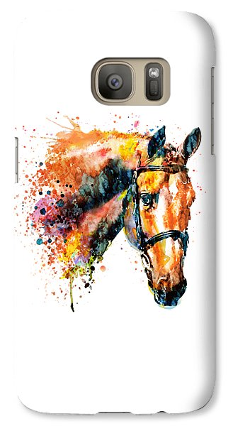 Galaxy Case featuring the mixed media Colorful Horse Head by Marian Voicu