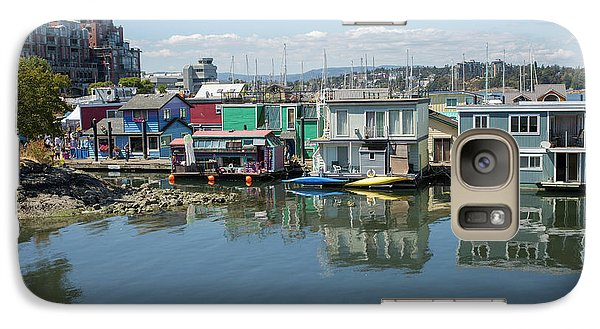 Galaxy Case featuring the photograph Colorful Houseboats In Victoria, Canada by Patricia Hofmeester