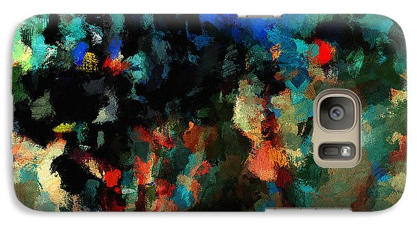 Galaxy Case featuring the painting Colorful Landscape / Cityscape Abstract Painting by Ayse Deniz