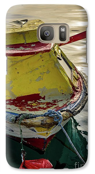 Colorful Old Red And Yellow Boat During Golden Hour In Croatia Galaxy S7 Case