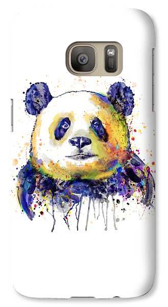 Galaxy Case featuring the mixed media Colorful Panda Head by Marian Voicu