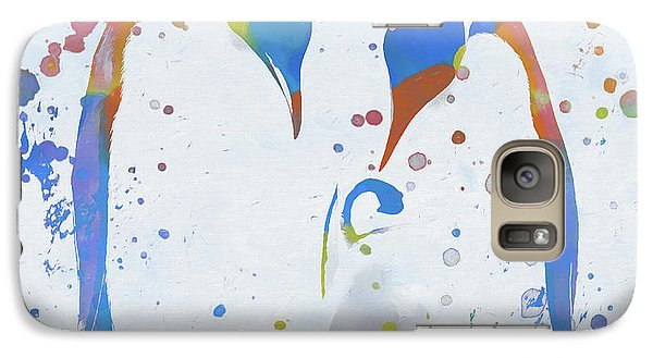 Galaxy Case featuring the painting Colorful Penguin Family by Dan Sproul