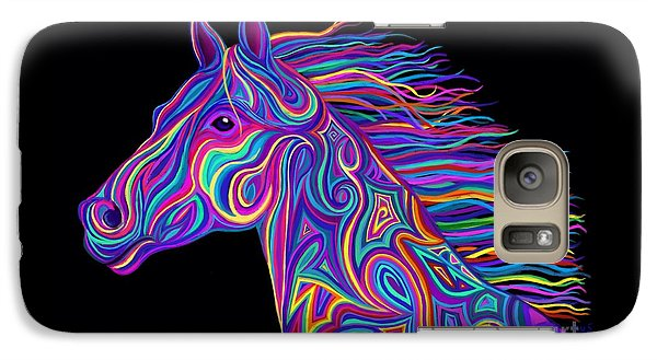 Galaxy Case featuring the drawing Colorful Rainbow Stallion  by Nick Gustafson