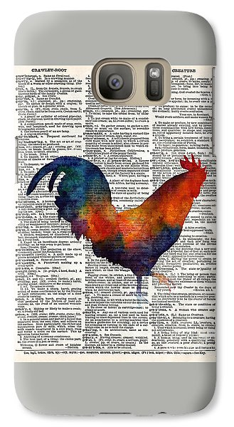 Rooster Galaxy S7 Case - Colorful Rooster On Vintage Dictionary by Hailey E Herrera