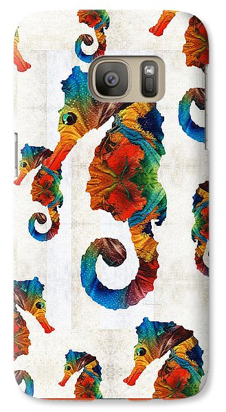 Colorful Seahorse Collage Art By Sharon Cummings Galaxy S7 Case