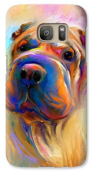 Colorful Shar Pei Dog Portrait Painting  Galaxy S7 Case by Svetlana Novikova