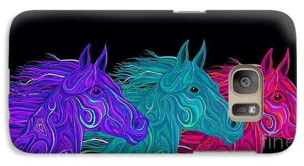 Galaxy Case featuring the drawing Colorful Stallions  by Nick Gustafson