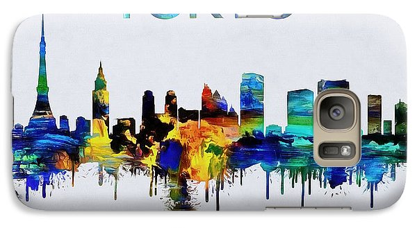 Colorful Tokyo Skyline Silhouette Galaxy Case by Dan Sproul