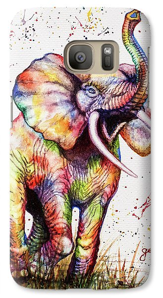 Galaxy Case featuring the painting Colorful Watercolor Elephant by Georgeta Blanaru