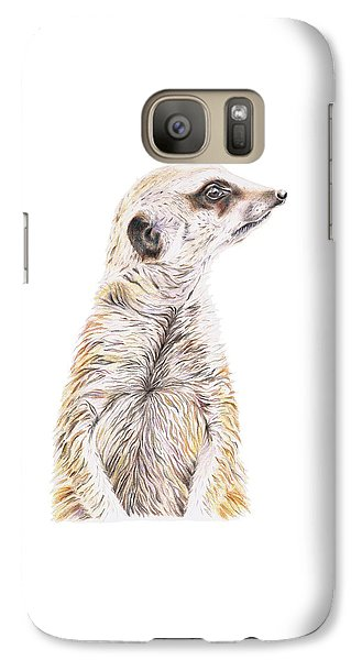 Galaxy Case featuring the drawing Colour Meerkat by Elizabeth Lock