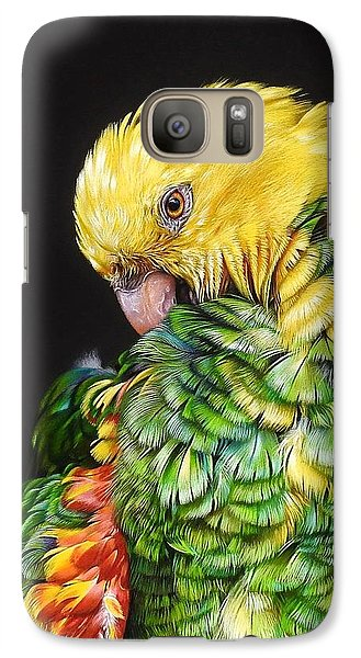 Galaxy Case featuring the drawing Colours Of The Jungle - Yellow-headed Amazon by Elena Kolotusha