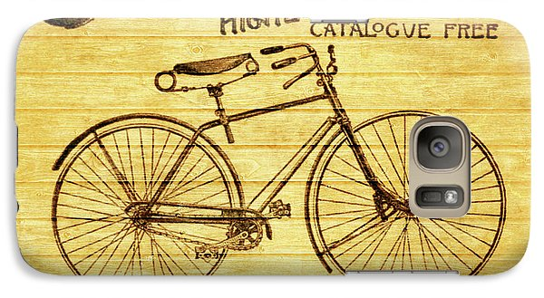Galaxy Case featuring the mixed media Columbia Bicycle Vintage Poster On Wood by Dan Sproul