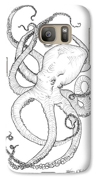 Galaxy Case featuring the drawing Come Let Me Give You A Hug Octopus Drawing by Karen Whitworth
