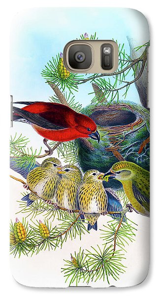 Common Crossbill Antique Bird Print John Gould Hc Richter Birds Of Great Britain  Galaxy Case by Orchard Arts