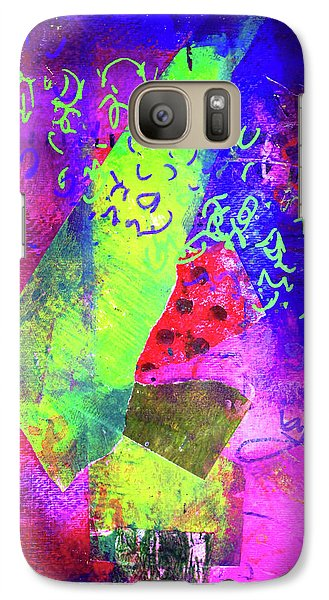 Galaxy S7 Case featuring the mixed media Confetti by Nancy Merkle