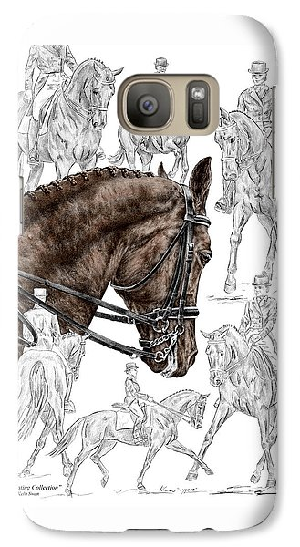 Galaxy Case featuring the drawing Contemplating Collection - Dressage Horse Print Color Tinted by Kelli Swan