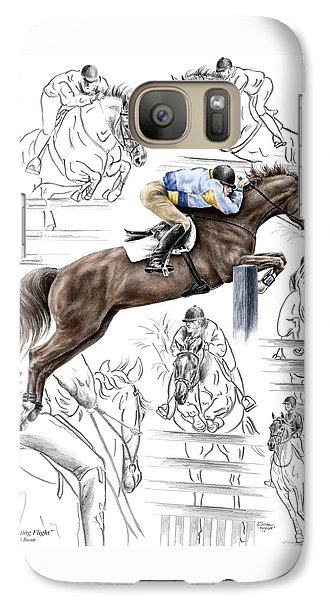Galaxy Case featuring the drawing Contemplating Flight - Horse Jumper Print Color Tinted by Kelli Swan