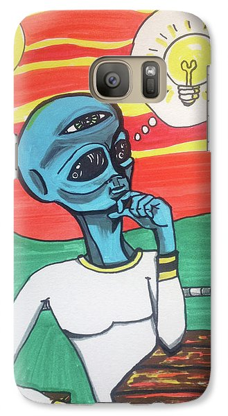 Galaxy Case featuring the painting Contemplative Alien by Similar Alien