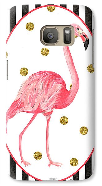 Contemporary Flamingos 2 Galaxy Case by Debbie DeWitt