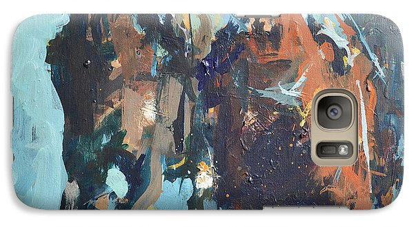 Galaxy Case featuring the painting Contemporary Horse Racing Painting by Robert Joyner