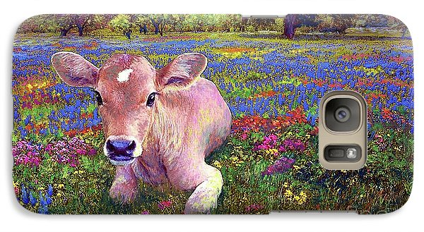 Cow Galaxy S7 Case - Contented Cow In Colorful Meadow by Jane Small