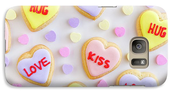 Galaxy Case featuring the photograph Conversation Heart Cookie Love by Teri Virbickis