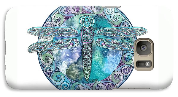 Galaxy Case featuring the mixed media Cool Celtic Dragonfly by Kristen Fox