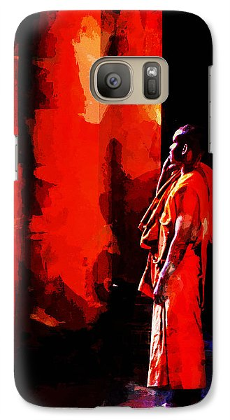 Galaxy Case featuring the digital art Cool Orange Monk by Cameron Wood