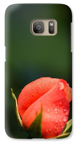 Galaxy Case featuring the photograph Coral Rose On Green by Debbie Karnes