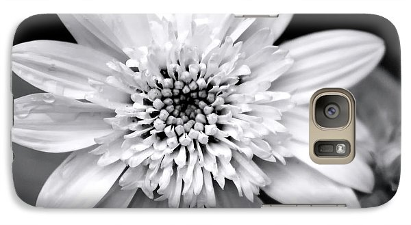 Galaxy S7 Case featuring the photograph Coreopsis Flower Black And White by Christina Rollo