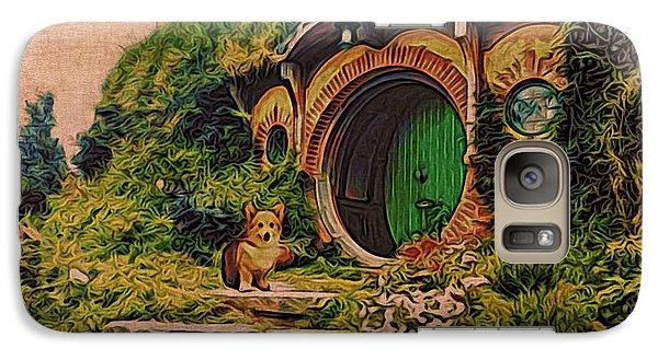 Galaxy Case featuring the digital art Corgi At Hobbiton by Kathy Kelly