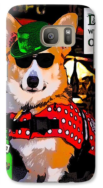 Galaxy Case featuring the digital art Corgi - Drinks Well With Others by Kathy Kelly