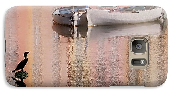 Galaxy Case featuring the photograph Cormorant And Boats by Joe Bonita