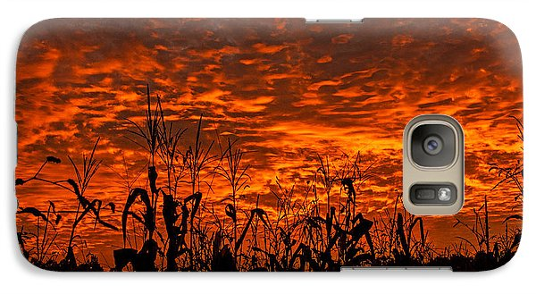 Galaxy Case featuring the photograph Corn Under A Fiery Sky by John Harding