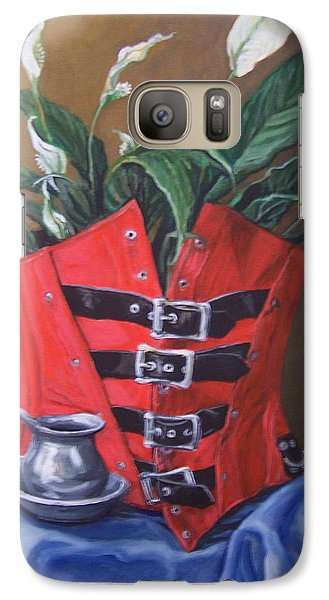 Galaxy Case featuring the painting Corset And Calla Lily by Laura Aceto