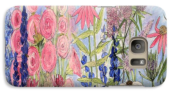 Galaxy Case featuring the painting Cottage Flowers With Dragonfly by Laurie Rohner