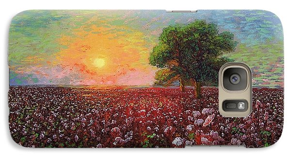Peach Galaxy S7 Case - Cotton Field Sunset by Jane Small