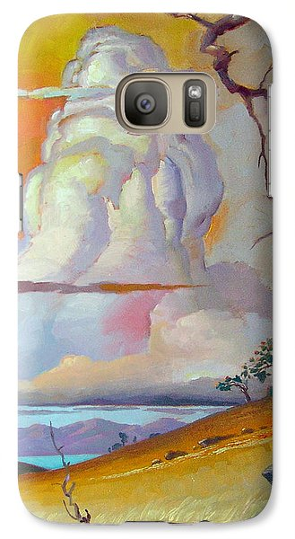 Galaxy Case featuring the painting Cottonwood Clouds 3 by John Norman Stewart