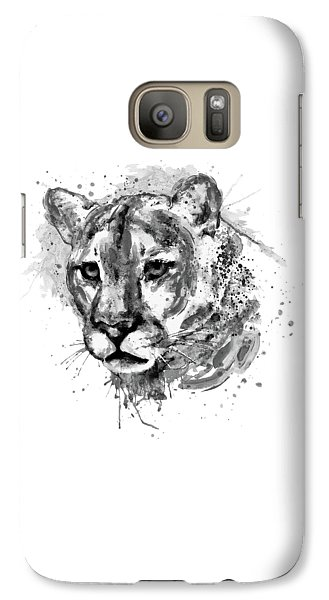 Galaxy Case featuring the mixed media Cougar Head Black And White by Marian Voicu