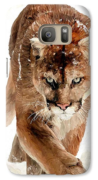 Galaxy Case featuring the painting Cougar In The Snow by James Shepherd